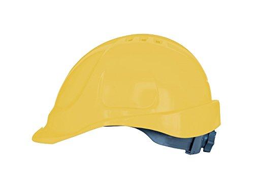 Elmetto lavoro con regolazione a scorrimento, Casco da Lavoro Casco di Protezione Casco per Cantiere (Giallo)