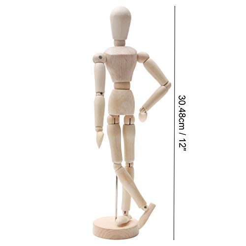 "KURTZY 2 Pcs Wooden Mannequins - 12"" Wooden Human Mannequins – Artist mannequin with stand - Wooden Artist Manikin for Art/body Drawing"
