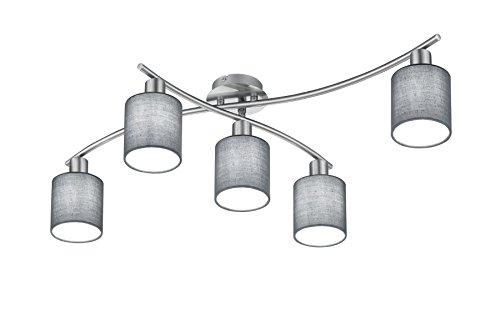 Trio Leuchten Deckenleuchte Garda 605400511, Nickel matt, E14, Stoffschirm Grau, 44.2 x 75 x 22cm