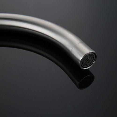 Kinse® 2 Jahre Garantie Gebürstet Silber Küchearmatur Mischbatterie Spültischarmatur 360°Drehbar aus Edelstahl SUS304 mit ABS Bubbler Kann Wasser 30% Sparen für Küche Waschbecken - 6
