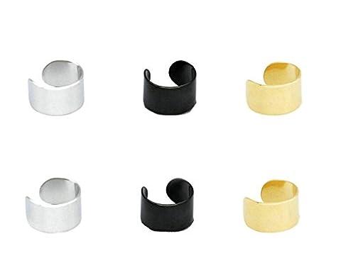 Aooaz 3 Paires Acier Inoxydable Ear Clip Ear Cuff Boucles d'Oreilles Pour Homme Femme Argenté Or Noir Non allergie