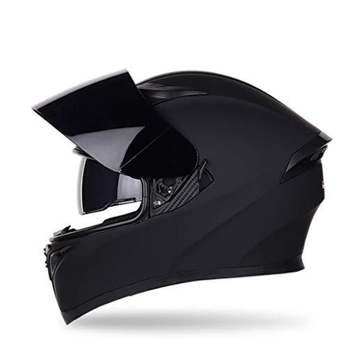 YangMi Helm- Motorrad Lokomotive Helm Männer Und Frauen Vier Jahreszeiten Universal Schwarzer Tee Anti-Fog Doppel Objektiv Helm (Farbe : F, größe : M)