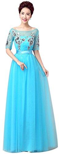 Eyekepper Robe de demoiselle d'honneur floral longue robe de soiree bal bleu ciel