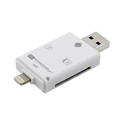 Zhuhaimei,Micro SD USB Speicherkartenleser Adapter Viewer für iPhone iPad Android Mac(Color:Weiss)