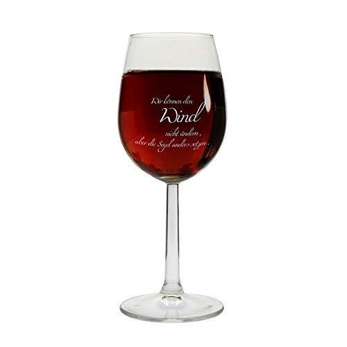 Weinglas Wir können den Wind Nicht ändern, Aber die Segel Anders setzen Geschenk Deko YD 3-001-526