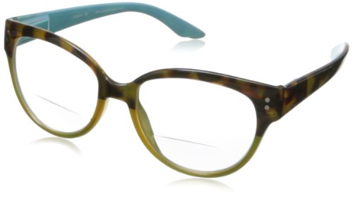 Peepers Maxine Bifocal Round Reading Glasses,Tortoise/Green,+1.75