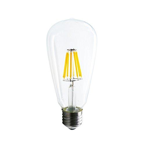 Mengjay® 1 x filamento della lampada LED sostituisce 60 Watt E27, 8W 650 Lumen 2200-2700K lampada a filamento caldo bianco filamento 360 ° 220V AC, non dimmerabile, 1 anni di garanzia