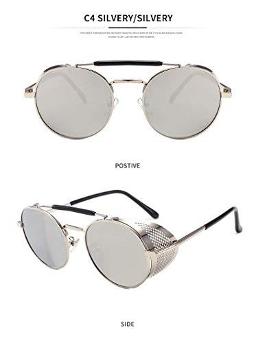 WYJW Für Männer \u0026 Frauen Gothic Polarized Round Retro Sonnenbrille Steampunk Sonnenbrille Ladies Flip Up Goggle Sonnenbrille 100% UV-Schutz
