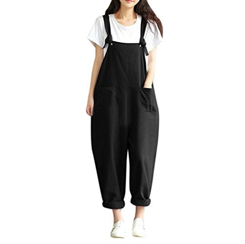 Pingtr Womens Baggy Dungarees,Women's Retro Loose Playsuit Trousers Pants Plus Size Linen Overalls Baggy Adjustable Strap Sleeveless Jumpsuits Casual Loose Wide Leg Dungarees Rompers