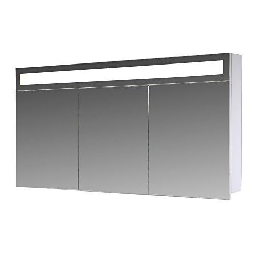 Eurosan 3-türiger Spiegelschrank, Superflache, Integrierte LED-Frontbeleuchtung, Breite 120 cm, Weiß, Paris, P120