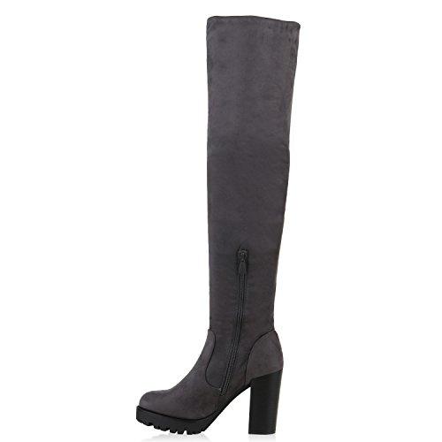 Boot Paradise Donne Alla Moda Stivali Profilo Unico Overknees Block Tacco Flandell Grigio Grigio