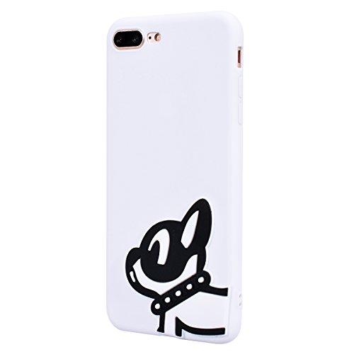 Yokata Cover per iPhone 7 Plus Silicone Disegni Rigida Case Originale Fantasia Divertenti Caso Custodia gel Gomma TPU Morbido Ultra Slim Impermeabile Antiurto Protettiva Shell + Penna - Cane in bianco Cane in bianco e nero