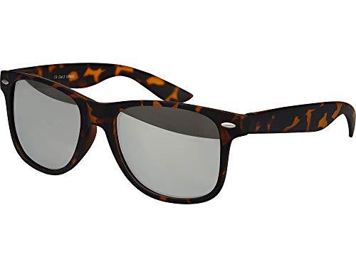 Balinco Hochwertige Nerd Sonnenbrille Rubber Retro Vintage Unisex Brille mit Federscharnier - 101 verschiedene Farben/Modelle wählbar (Leo - Silber verspiegelt)