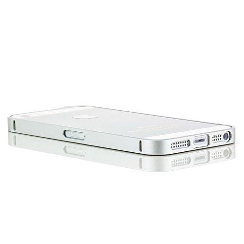 Saxonia Aluminium Bumper Apple iPhone SE / 5 / 5S Ultra Slim Alu Case Schutz Hülle Rahmen (Drehknopf-Verschluss) Gold Silber