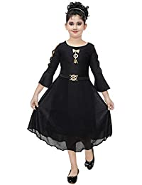 DIGIMART Girl's Black Fancy Party Wear Long Frock (NFGC4702)