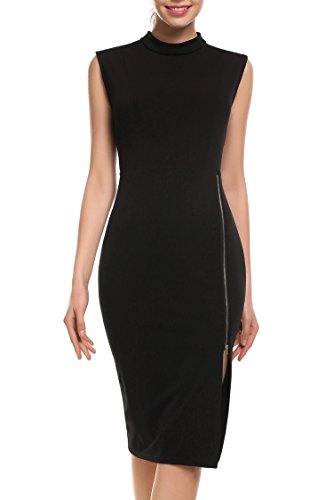 Zeagoo Sexy Damen Maxi Abendkleid Bodenlang Spitze Rücken Fishtail Rock mit Reißverschluss