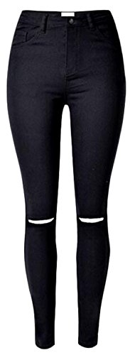 EKU Women's Casual Bodycon Solid Color Hole Stretch Jeans Pants XXL Black