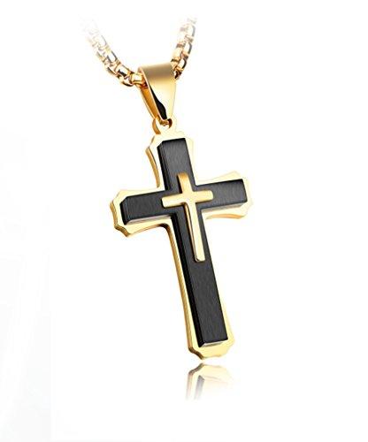 KnSam Kreuzanhänger aus 18k Gold Vergoldet Kreuz Halskette 55cm Ketten für Herren Damen Schwarz [Neuheit Halsschmuck]
