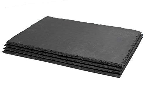 4er Set BELLESET Schieferplatten, rechteckig, 38x28 cm Schieferteller Servierplatte Dekoration Buffet Dekoplatte Tablett Unterteller Kerzenteller Schiefer Käseplatte