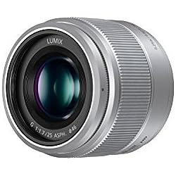 Panasonic Lumix Objectif à focale fixe pour capteur micro 4/3 25mm F1.7 H-H025E-S (Grand angle 25mm, Très Grande ouverture F1.7, Ultra compact, equiv. 35mm : 50mm) Gris - Version Française