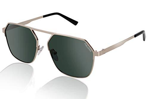 fawova 2019 6- Eckige Sonnenbrille Herren Polariserende,Mode Hexagonal Sonnenbrille mit UV400 Schtuz, Cat.33, CE 56mm (Gold, Grün)