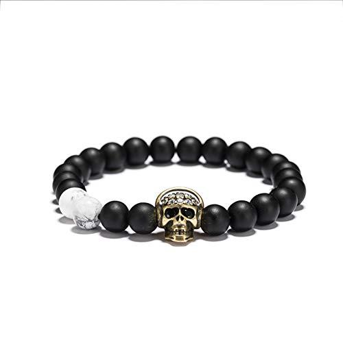 gen Kopfhörer Schädel Armband 8Mm Weiß Schwarz Perle Mash Up Herren Armband Hippie Männlichen Schmuck Zubehör ()