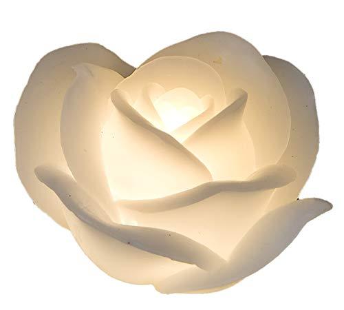 Formano - LED Echtwachs Kerze - Weiße Rose 11cm - Blumen-Kerze mit beweglicher Flamme Warm-Weiß Timer-Funktion - Deko-Idee