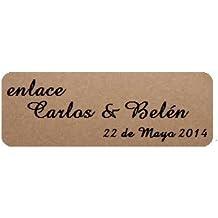 150 etiquetas adhesivas kraft personalizadas para detalles de boda letra clásica