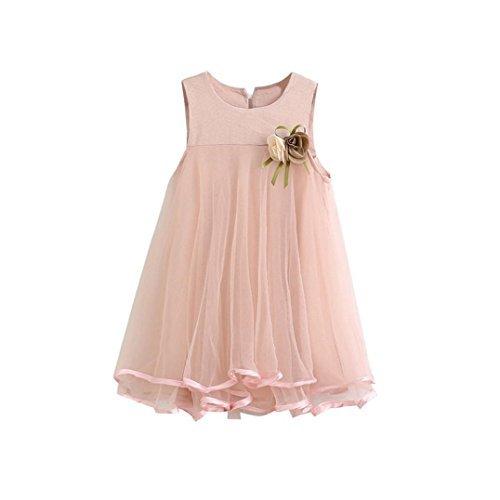 AMUSTER.DAN Kleid Mädchen Runder Kragen Ärmellos Chiffon-Kleid Mit Brosche (130, Rosa) (Spitze-blumen-mädchen-kleid Princess)