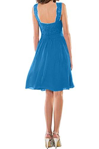 Ivydressing Blau Damen Neu Spitze Band Cocktail Abendkleider V-Neck Abiballkleider Kurz Violett