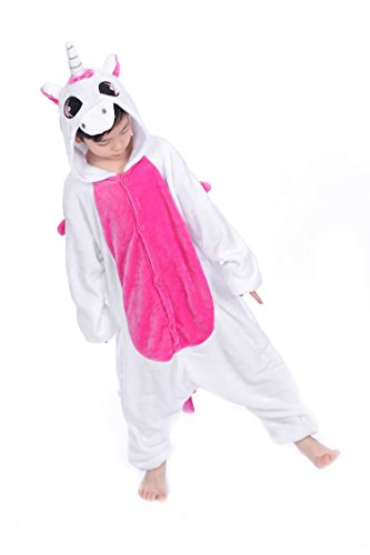 Yuson Jumpsuit Onesie Tier Mädchen Winter Flanell Einhorn Onesie Pyjamas Erwachsene Unisex Einteiler Cartoon Tier Kostüm Neuheit Weihnachten Cosplay Pyjamas (Einhorn, XL= 120-130 Height)