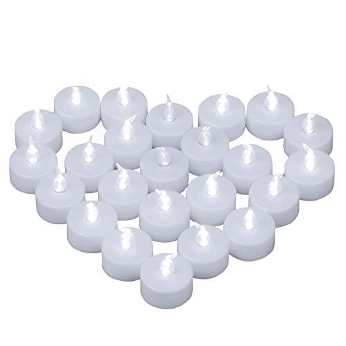 Yooyee LED Velas de Té Sin Llama 24 Piezas Luces de Té Blanco Frío Luz de Velas Eléctricas y LED Vela Brillante con Batería para Decoración de Fiesta Bodas Halloween Navidad (Luz Blanco Frío)