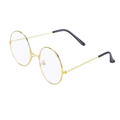 LUOEM Vintage Runde Brille Klare Linse Brille ohne -