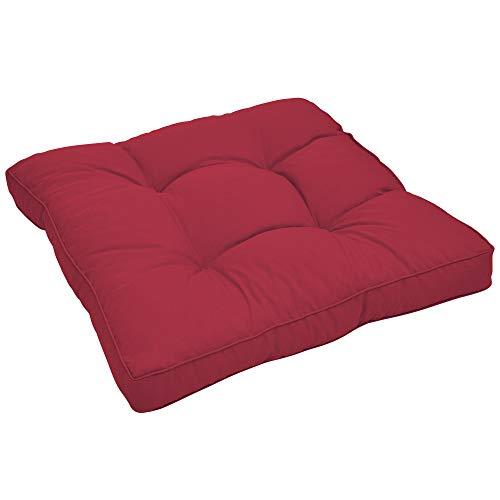 Beautissu Loungekissen XLuna Sitzkissen für Rattanmöbel Gartenmöbel Lounge Dickes Polster 70x70x10 cm in Rot in verschiedenen Größen und Farben