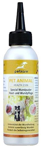 Peticare Spezial-Wundpuder zur Wund-Pflege - Für Hunde, Pferde, Katze, weitere Tiere, hochwertiges Zeolith-Pulver - Klinoptilolith, fördert Zellregeneration, Anti-Bakteriell - petAnimal Health 2106