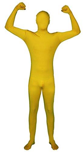 zug mit Reißverschluss im Schritt! Ganzkörperkostüm / Gruppenkostüm für Karneval in Gelb Größe S (Kinder Morphsuit Gelb)