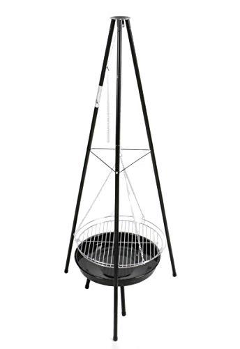 Bubble-Store Holzkohlegrill mit Feuerschale aus Stahl, Grillrost verchromt,große Grillfläche, Schwenkgrill Höhe ca. 153 cm