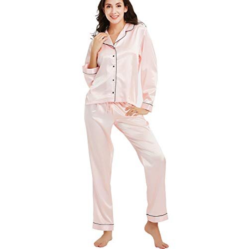 1a2b21ad168 New Dance Pijamas Saten Mujer Manga Larga Set Ropa de Dormir Elegante  Ladies Silk Pyjama Set Pijamas Sleepwear Loungewear