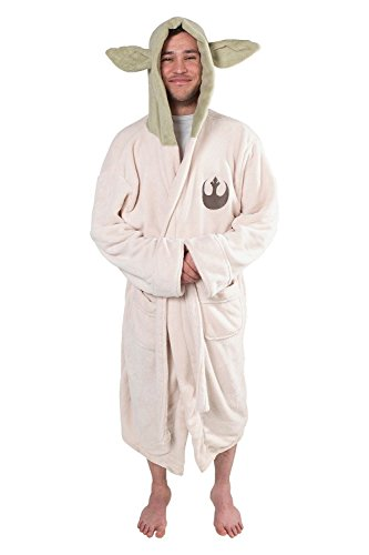 Fuman Star Wars Yoda Jedi Ears Fleece Bathrobe Hooded Robe Bademantel für Erwachsene