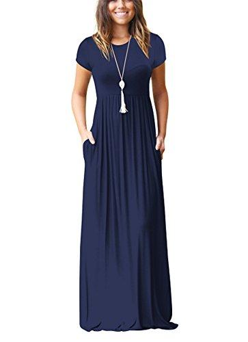 Maxi kleidet - Damen Casual Hülsen-lose Langarm Maxi beiläufige Lange T-Shirt Kleider mit Taschen (Königsblau, L) (Haus-kleider Frauen Für)