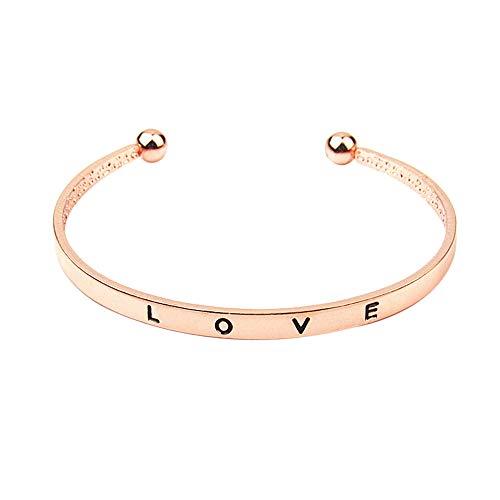 Lialbert Nuovo braccialetto, Semplice Lettera d'amore Braccialetto di apertura con lettere Uomini e donne lega Braccialetto 1PCS