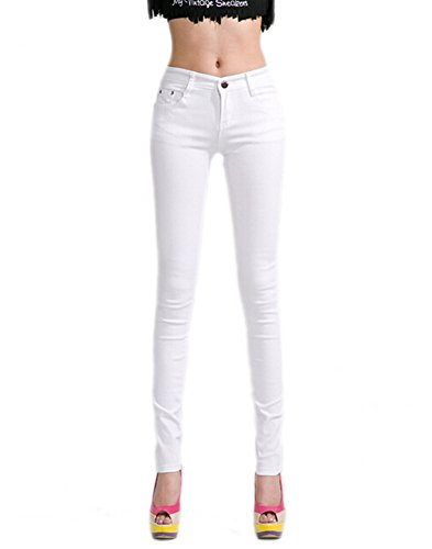 DELEY Damen Skinny Hose Pant Stretch Leg Jeans Juniors Röhre Leggings Treggings Weiß XS
