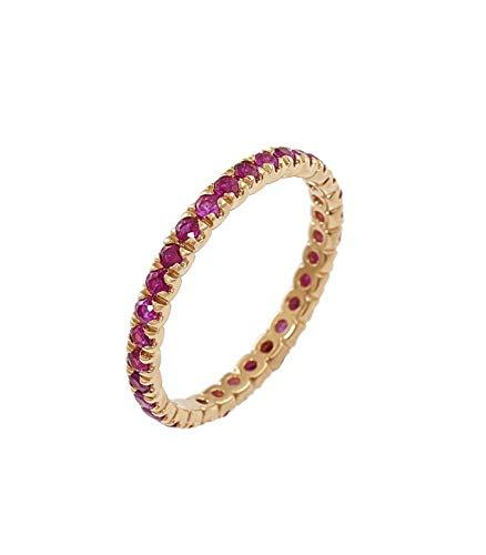 Gioielli di Valenza Anello Eternity a Griffe in Oro Rosa 18k con Rubini - 13, 1,01
