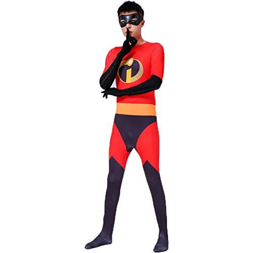 QWEASZER Die Unglaublichen Superman Kostüm Overall Halloween Cosplay Strumpfhose Zentai Kostüm Anime Film Kostüme Kostüm Onesies,Red-160CM (Zentai Kostüm Superman)
