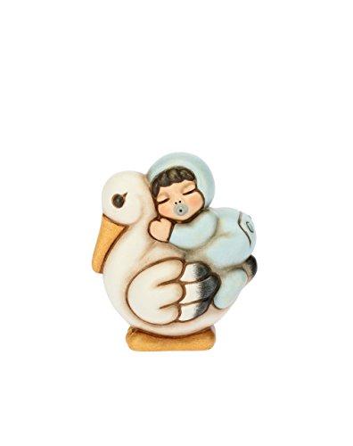 Thun bimbo a cavallo della cicogna, ceramica, h 6,2 cm
