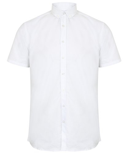"Henbury Moderne Manche Courte Chemise Oxford Tailles Jusque 54"" Blanc"