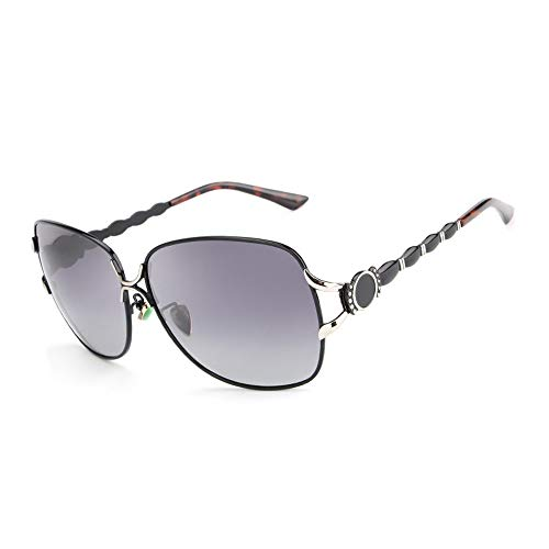 Easy Go Shopping Mode polarisierte Klassische Vintage übergroße Aviator Sonnenbrille Womens Sonnenbrille Sonnenbrillen und Flacher Spiegel (Color : Schwarz)