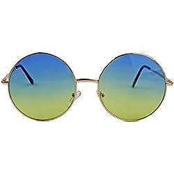 Oversized Lennon Style Damen Sonnenbrille im 60er 70er Jahre Hippie Style FARBWAHL LXL (Gold / Sky)