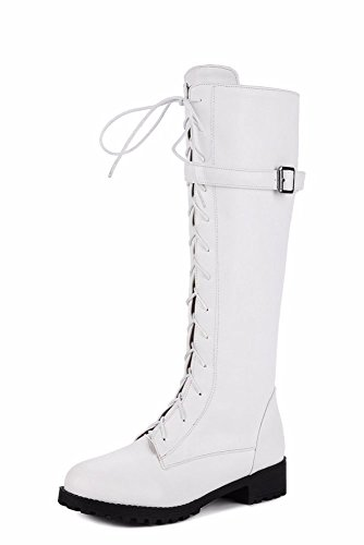 Seite Spitze Knie Stiefel (KAFEI Weibliche stiefel Seite Spitze Riemen retro Retro 33-42 Leder Schnalle 3,5 cm Runder Kopf, Weiß, 33)