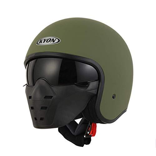 YGFS Retro Motorradhelm Für Männer Und Frauen Dot Certified Fashion Erwachsene Vier Jahreszeiten Mit Kontaktlinsen 3/4 Helm (grün)
